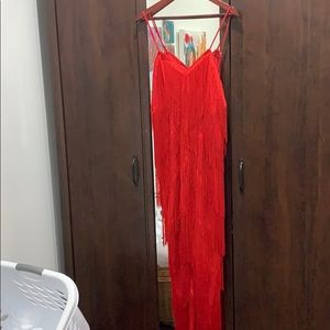 Pretty little thing red fringe jumpsuit